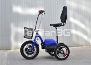 """Сгъваема електрическа триколка TS 200.4 COUNTRY 48V 500W с големи 14`` задни гуми тип """"тракийска колесница"""""""